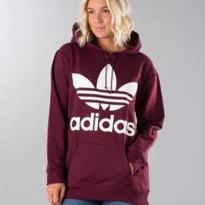Adidas trefoil hoodie (maroon)